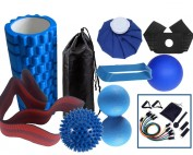 athlets pack 2019 - 10 in 1 Athletes Sports Foam roller Kit, Mini EVA Massage Foam Roller, Spiky massage Ball, Lacrosse Trigger point Ball, Stretching Band, Latex loop Band, 11pc Resistance set, ice pack & wrap